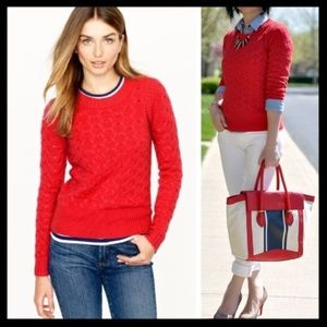 j. crew // honeycomb cabled angora sweater in red